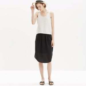 Madewell black silk pull on skirt
